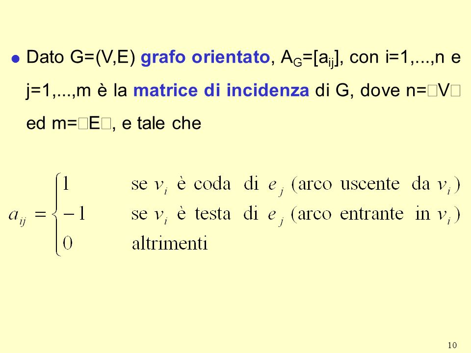 Dato G=(V,E) grafo orientato, AG=[aij], con i=1,. ,n e j=1,
